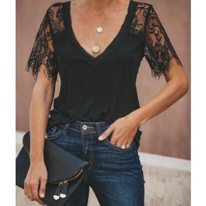Black lace short sleeve tee
